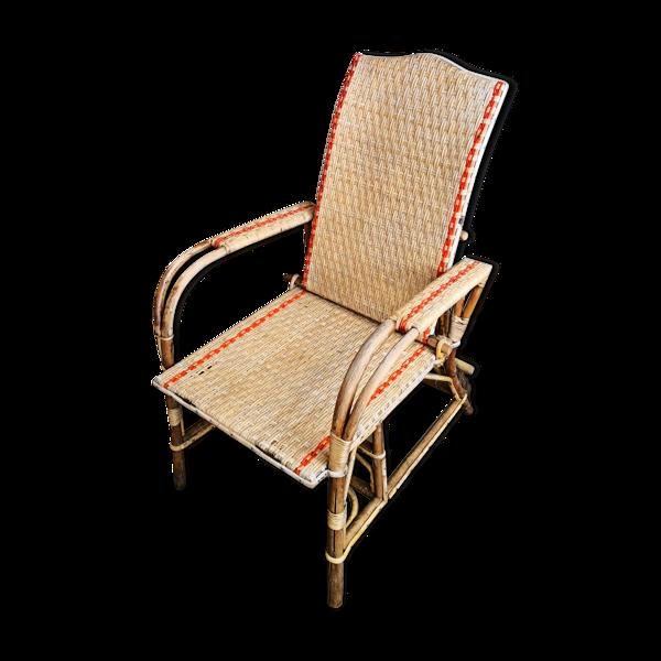 Chaise longue en rotin, osier, années 70