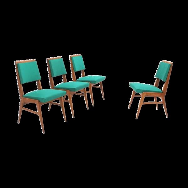 Ensemble de 4 chaises à manger français du milieu du siècle 1950