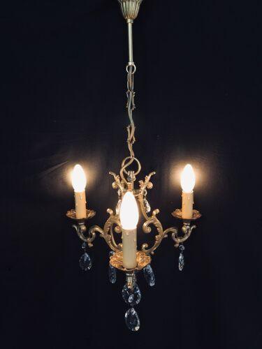Lustre cage  à 3 lumières cristal et bronze