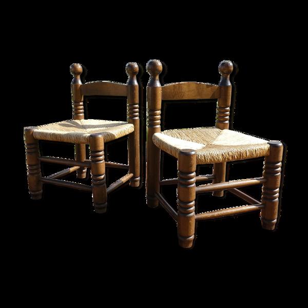 Selency Paire de chaises basses paillées