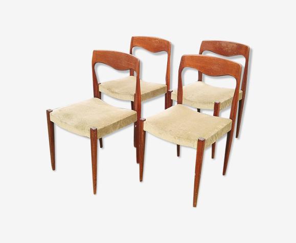 Chaises design scandinave teck et velours vintage