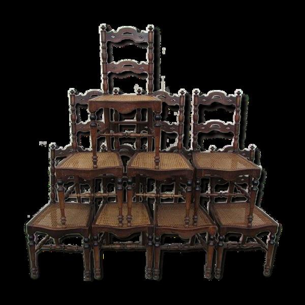 Lot de 8 chaises de salle à manger en noyer et cannage