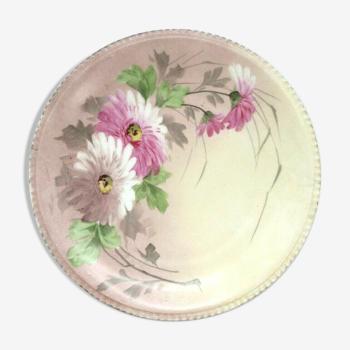 Assiette art nouveau en porcelaine fine de limoges peinte de fleurs