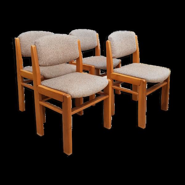 Série de 4 chaises en orme 1970