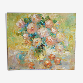 """Acrylic on canvas by Van Tame """"Old Roses"""""""