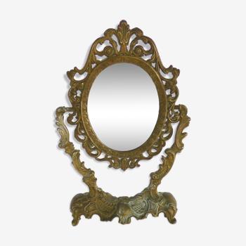 Miroir Psyché de table en bronze ou laiton, style Louis XV, année 50
