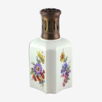 """Lampe berger vintage, porcelaine de paris france, """"fleurs"""" limoges/sevres"""
