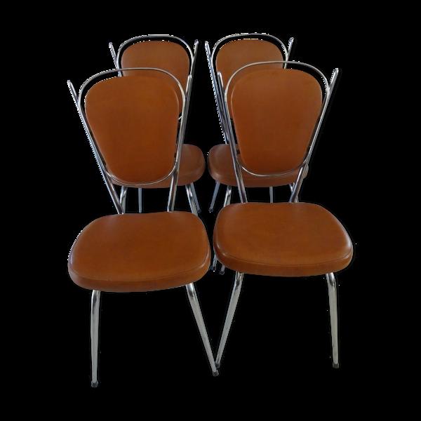 4 chaises de cuisine vintage chromé et skaï marron années 70/80