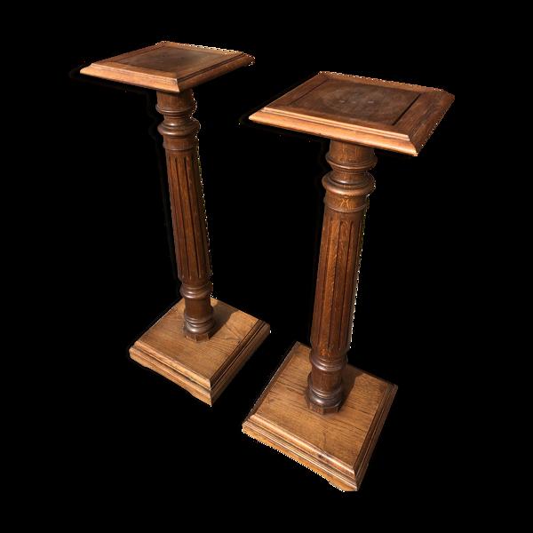 Paire de colonnes sellettes en chêne 1900