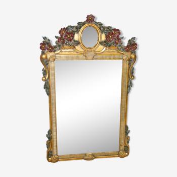Miroir trumeau doré et fleurs rouges - 125X80cm