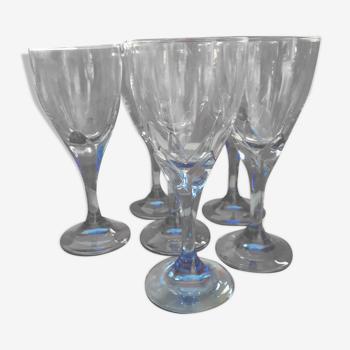 6 Grands verres bleus, Bormioli, Rocco. Verrerie italienne de luxe.