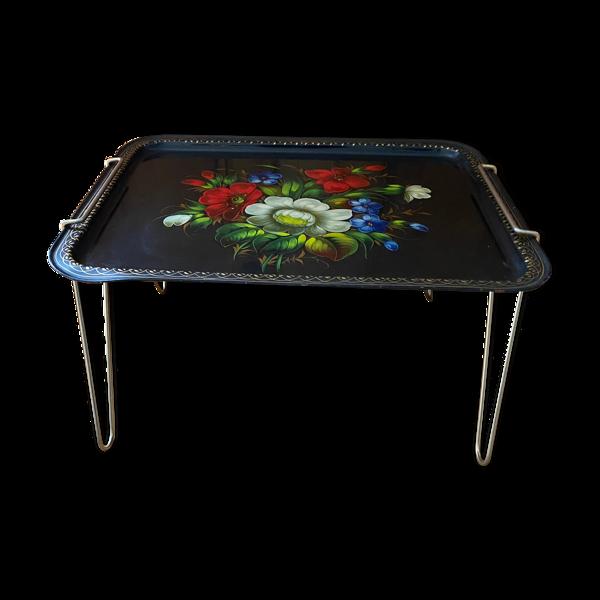 Table d'appoint plateau  métal peint fleurs URSS avec support