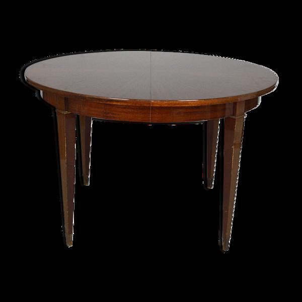 Table ronde Art Déco en acajou par Jacques Adnet vers 1940