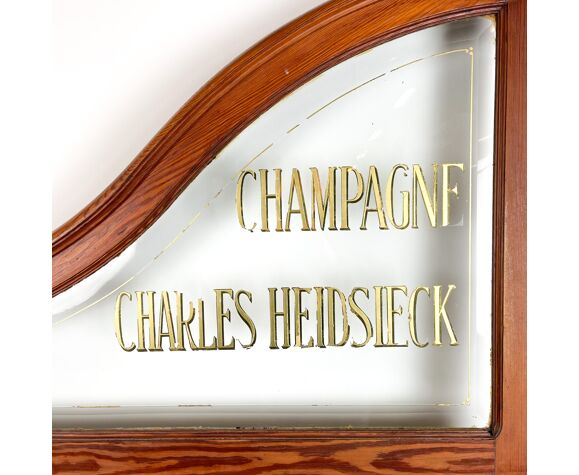 Diviseur antique de salle de bar Champagne Charles Heidsieck lettrage doré