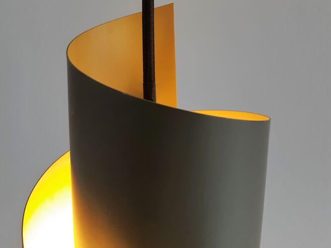 Set of 2 Danish swirl-shaped metal pendant lamps by Simon Henningsen for Lyfa, 1960s