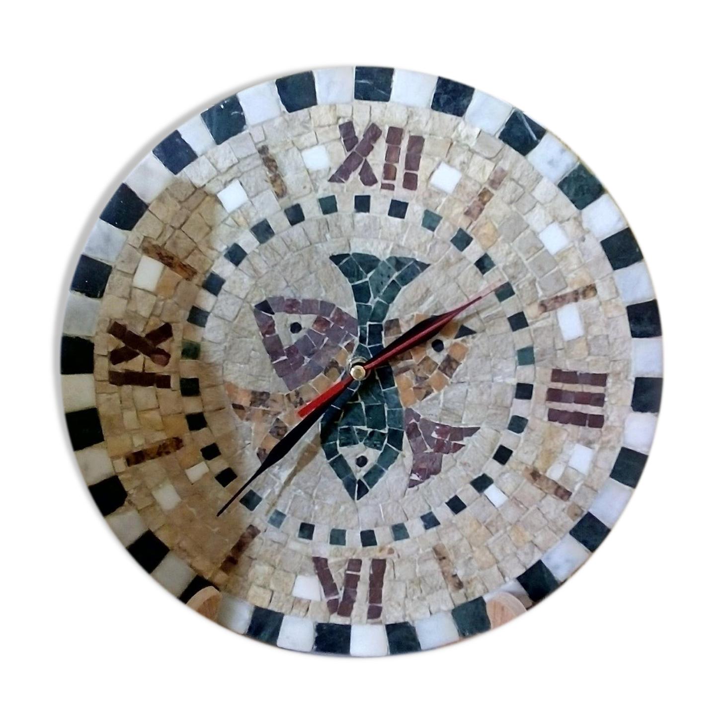 Horloge murale en mosaïque romaine