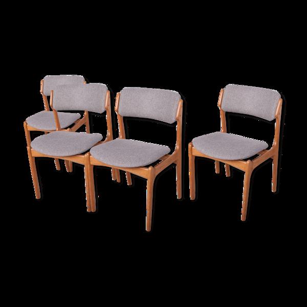 Chaise modèle 49 par Erik Buch pour Odense Maskinsnedkeri / OD Furniture, années 1960, Ensemble de 4