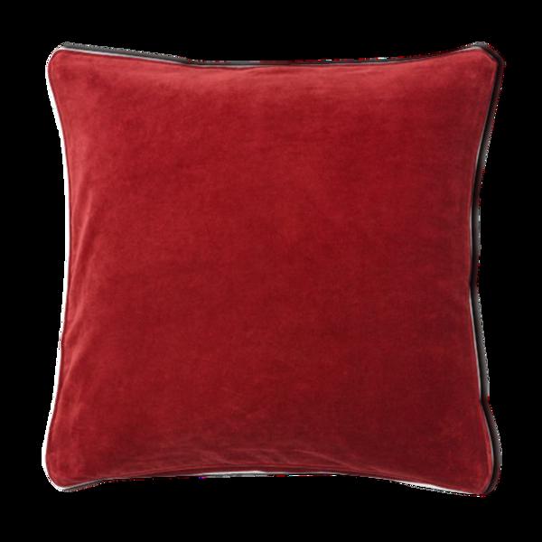 Coussin en velours rouge foncé