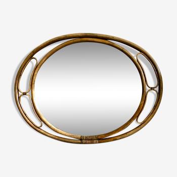 Miroir en rotin bambou ovale vintage 108x81