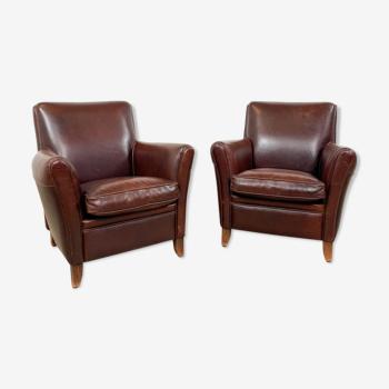 Ensemble de deux fauteuils en cuir brun foncé vintage