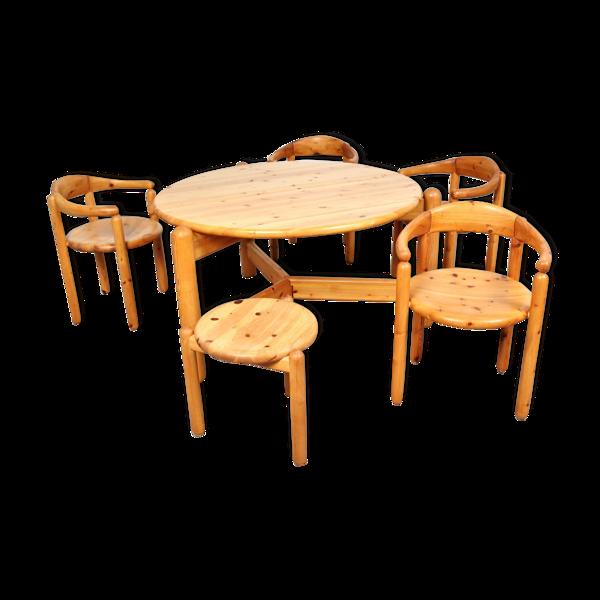 Table, 4 fauteuils et 1 tabouret en pin de Rainer Daumiller 60/70