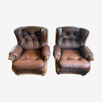 Lot de 2 fauteuils club cuir