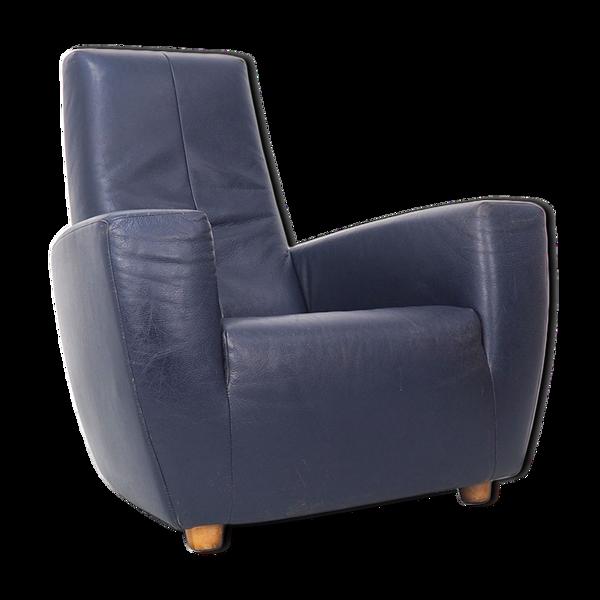 Fauteuil en cuir bleu vintage Longa par Gerard van den Berg
