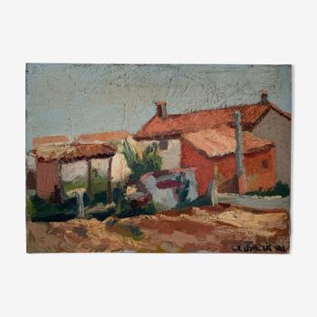 Tableau huile sur toile paysage du sud de la France