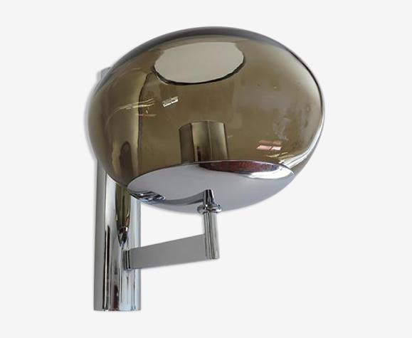 Applique Sciolari en métal chromé et verre fumé années 70