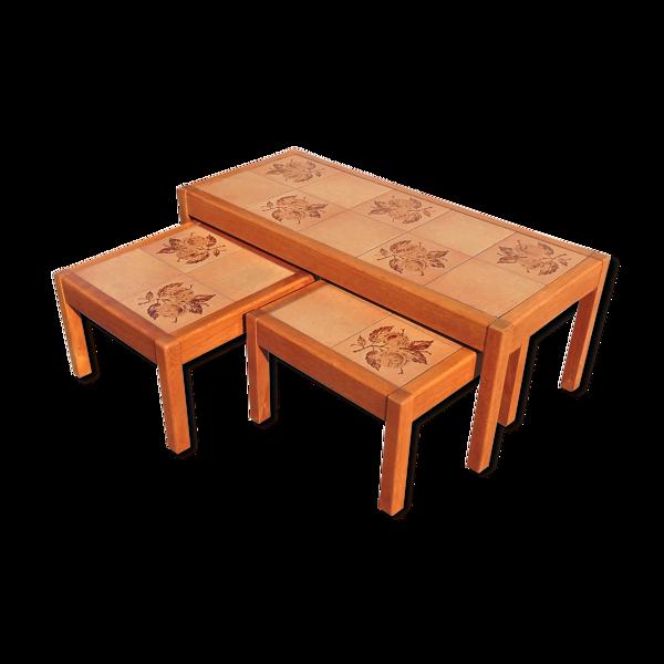 Selency Tables basses en teck et céramique danoises du milieu du siècle de Gangsø Møbler, ensemble de 3, 1960