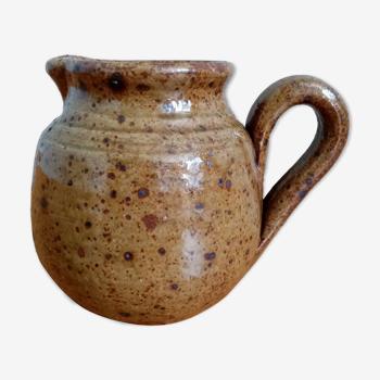 Pichet en grès pyrité couleur vert kaki olive