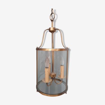 Cylindrical lantern in brass and glass