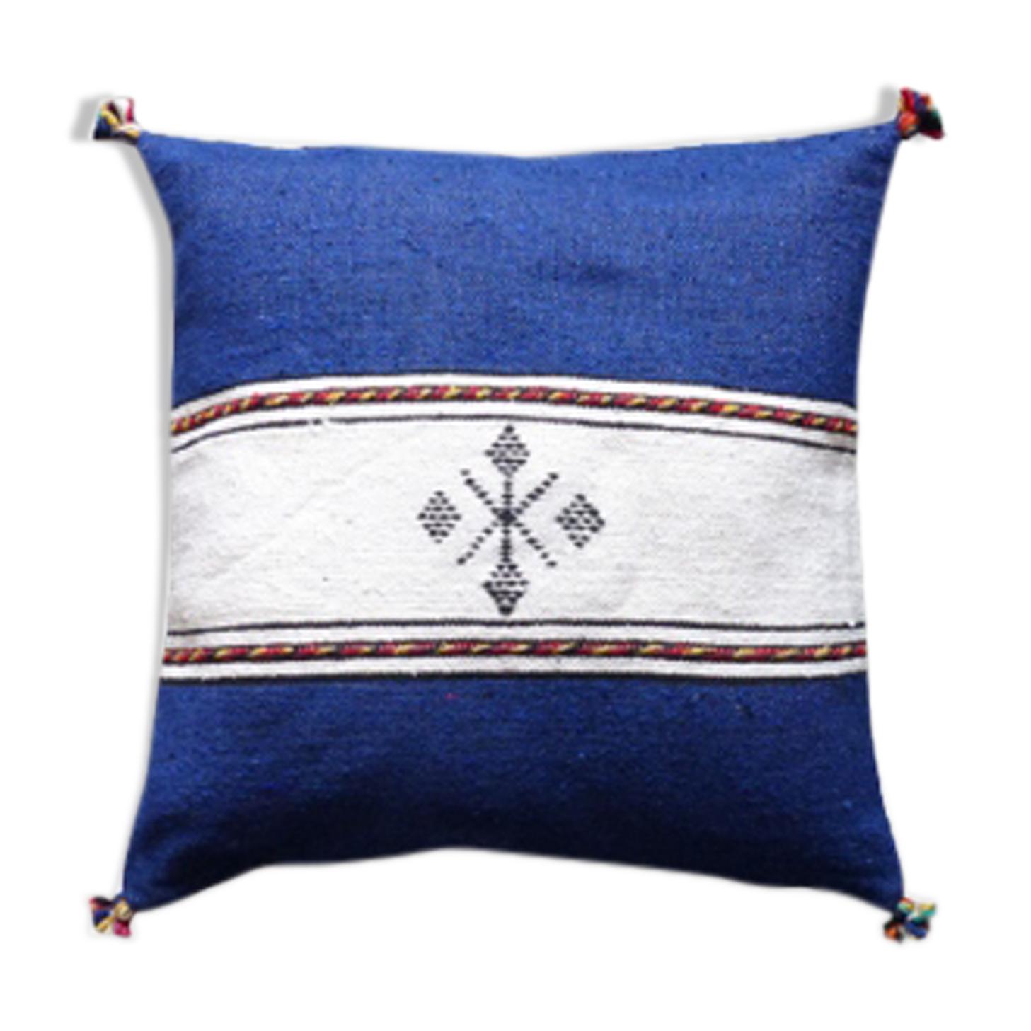 Coussin berbère marocain bleu et blanc