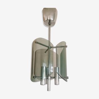 Suspension années 70 chrome et verre fumé