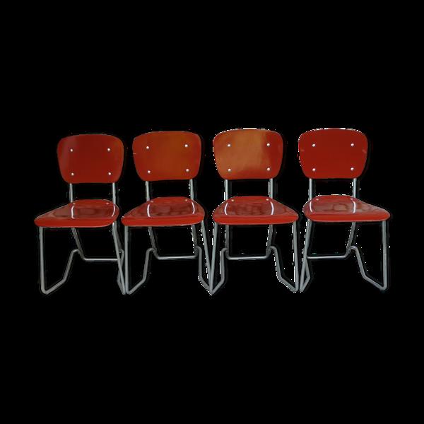 Lot de 4 chaises empilables Aluflex par Armin Wirth, Ph. Zieringer Suisse