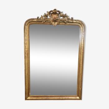 Miroir époque Louis Philippe à fronton à la feuille d'or