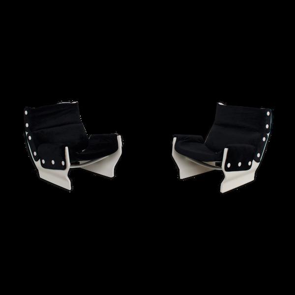 Paire de fauteuils canada p110 d'Osvaldo Borsani, tecno éditeur 1960
