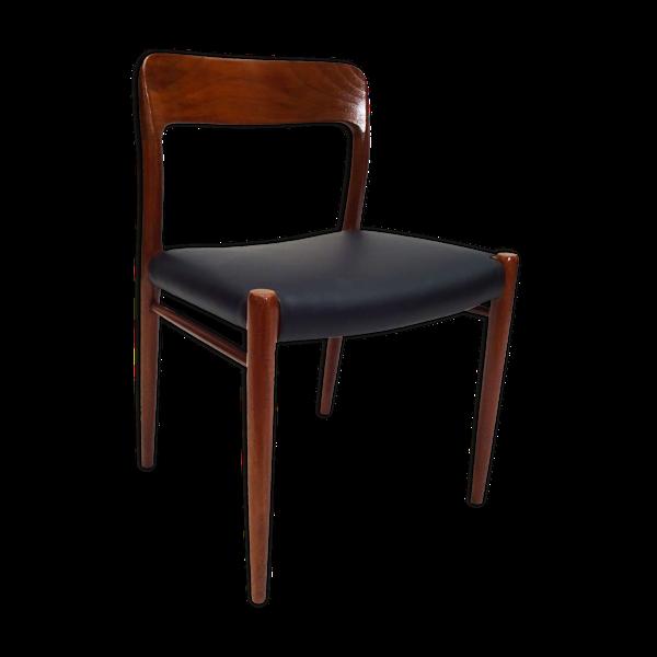 Selency Chaise danoise Niels O.Møller du milieu du siècle en teck et cuir noir modèle 75
