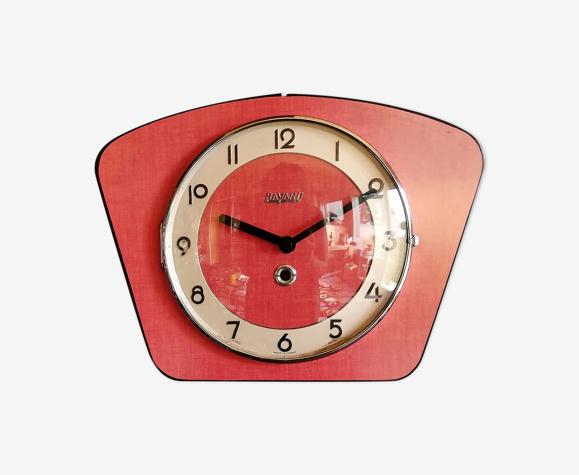 "Vintage formica clock silent wall clock ""Bayard red"""