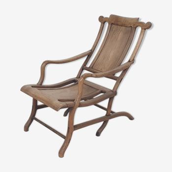 Chaise longue chinoise  du 19ème siècle en bois massif