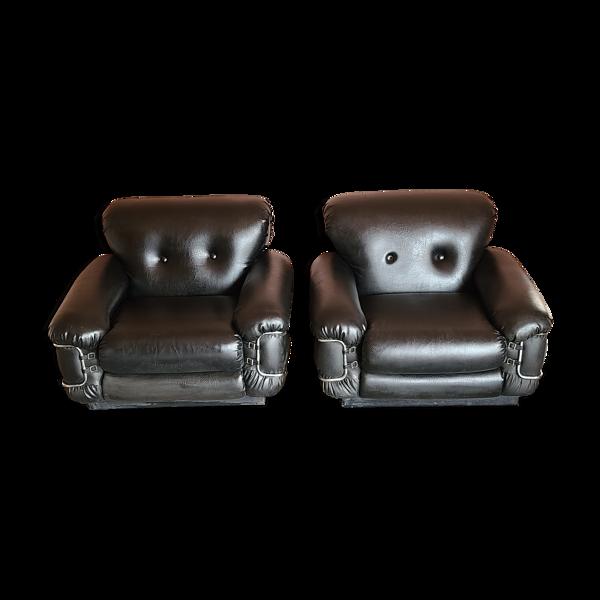 2 fauteuils italiens en cuir noir et chrome, Mid-Century Modern, années 1970