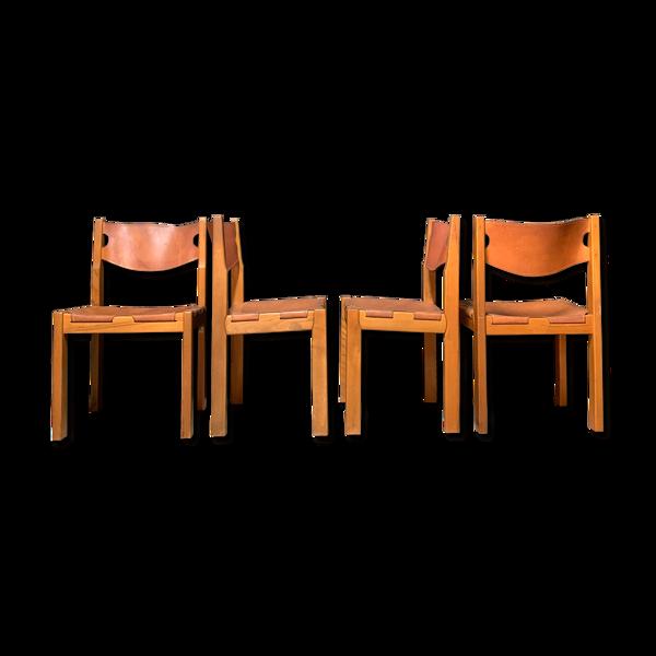 Selency 4 chaises vintage cuir et bois massif