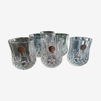 Lot de 6 verres à liqueur en cristal d'Arques modèle Longchamp