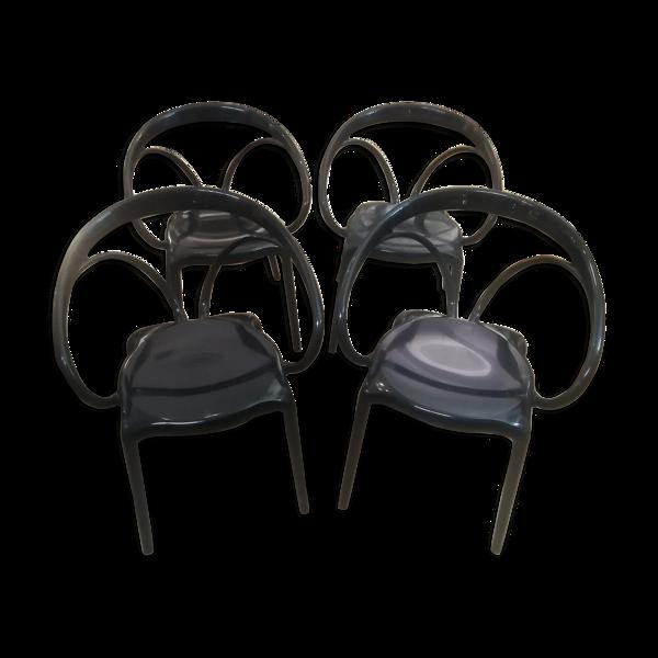 Série de 4 fauteuils Sergio Giobbi en plastique moulé