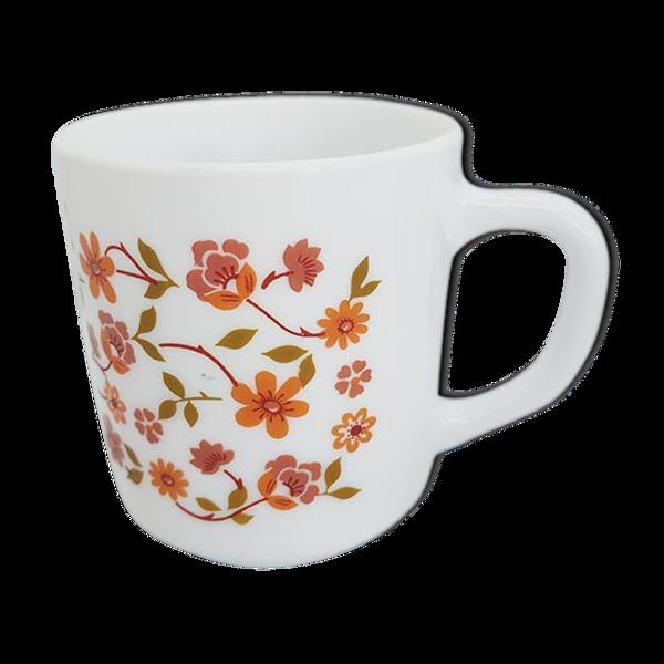 Mug vintage fleurs orange