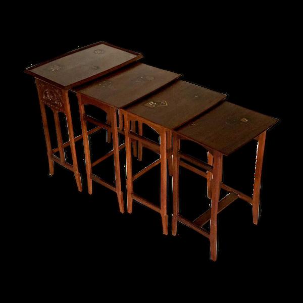 Selency Suite de tables gigognes en acajou et marqueterie 1925 .  Art Nouveau Art Deco