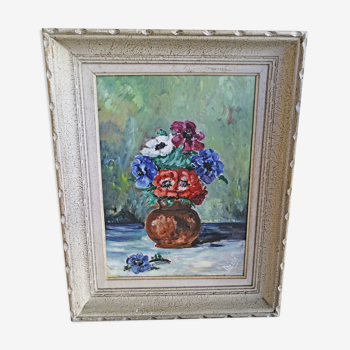 Tableau bouquet de fleurs sous bois au verso.