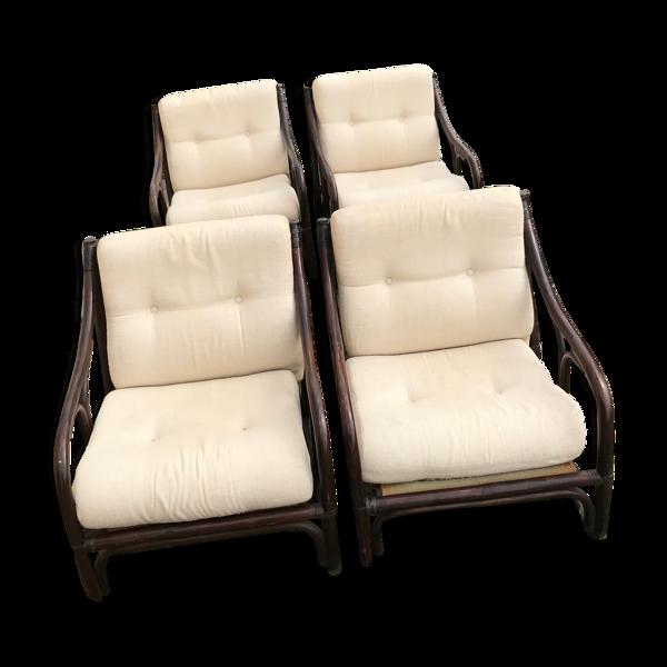 Série 4 fauteuils en rotin
