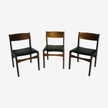 Suite de 3 chaises italienne piètement en teck