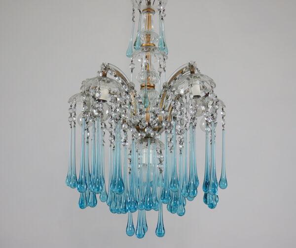 Lustre de Murano cascade bleue modèle Maria Teresa